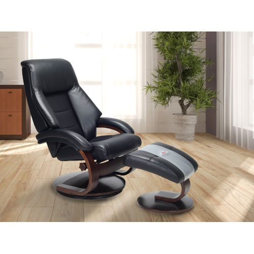 Selby Merlot Black Top Grain Leather Manual Recliner with Ottoman