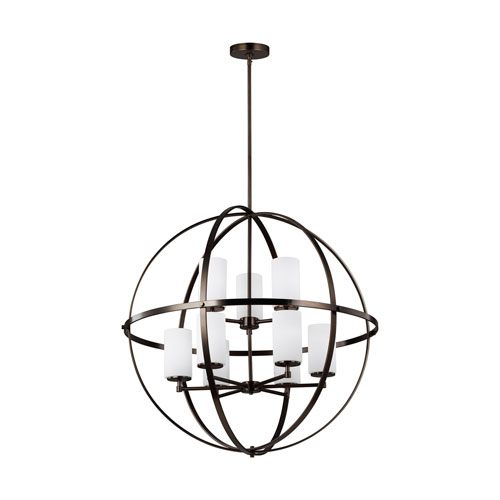 Nicollet Oil Rubbed Bronze Nine-Light Chandelier Title 24