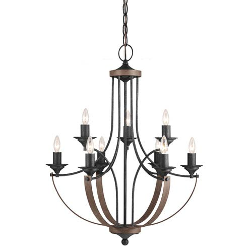 Hayes Stardust and Cerused Oak Nine-Light Chandelier with Creme Parchment Glass