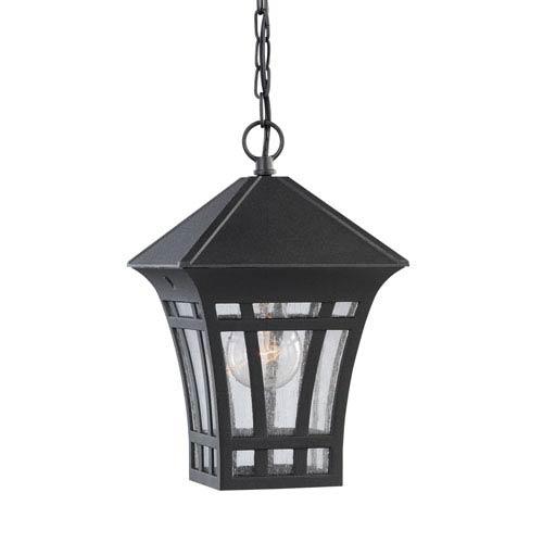 Uptown Black 7-Inch One-Light Outdoor Pendant