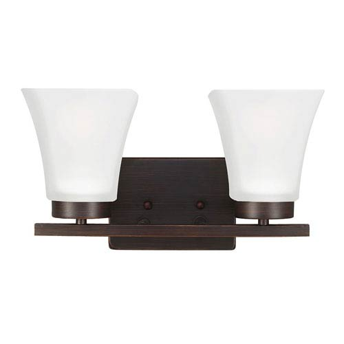 Kate Burnt Sienna Two-Light Wall Sconce with Satin Etched Glass