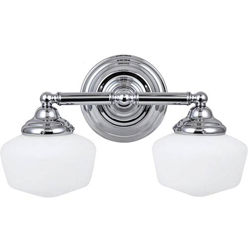 Russell Chrome Two-Light Wall Mounted Bath Fixture with Satin White Schoolhouse Glass