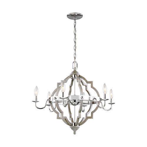 Olivia Washed Pine 26-Inch Six-Light Chandelier Energy Star/Title 24