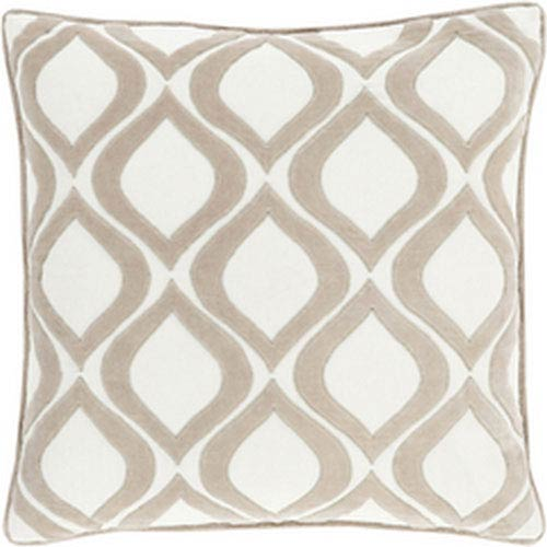 Loring Beige and Ivory 18-Inch Pillow with Poly Fill