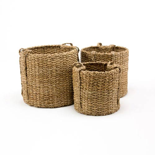 251 First Afton Seagrass Round Braided Storage Basket with Handle, Set of 3