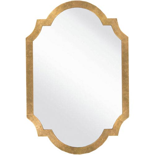 Whittier Aged Gold Decorative Arched and Crowned Mirror