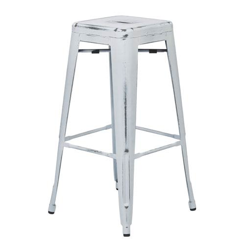 River Station Antique White 30-Inch High Metal Barstool, Set of 2