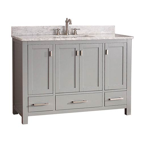251 First Uptown Soft Gray 48 Inch Vanity Combo With White Carrera Marble Top