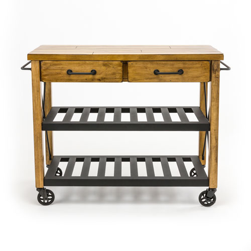 River Station Natural Industrial Kitchen Cart