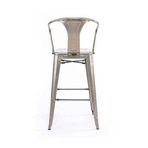 251 First River Station Galvanized Metal Cafe Barstool, Set of Two