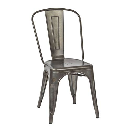 River Station Matte Galvanized Armless Chair, Set of 2
