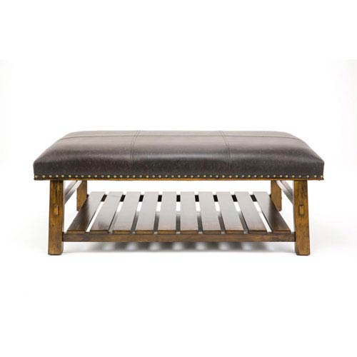 Selby Brown Slatted Shelf Accent Bench