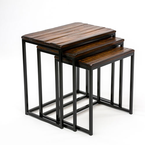 251 First Fulton Rustic Brown Three Piece Nesting Tables