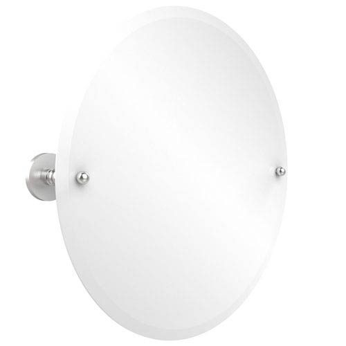 Selby Satin Satin Chrome Frameless Round Tilt Mirror with Beveled Edge
