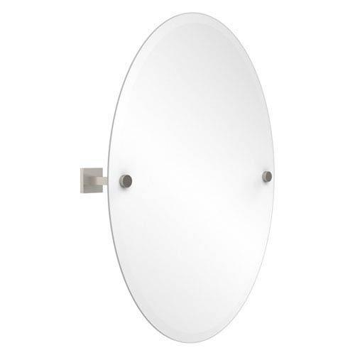 Uptown Satin Nickel Frameless Oval Tilt Mirror with Beveled Edge