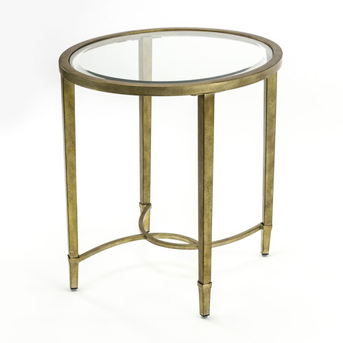 Linden Antique Silver and Metal Oval End Table