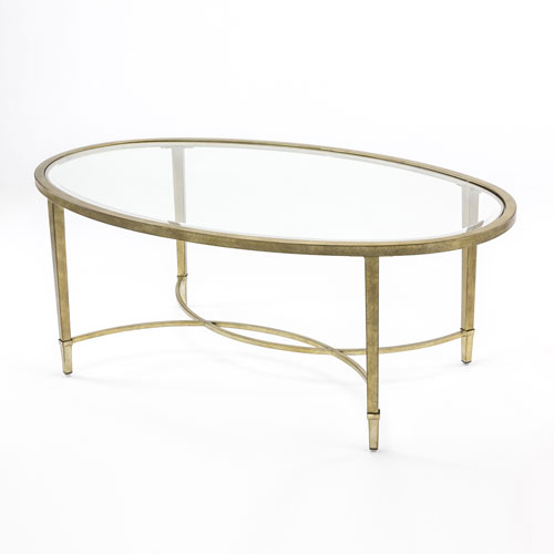 251 First Linden Antique Silver and Metal Oval Cocktail Table
