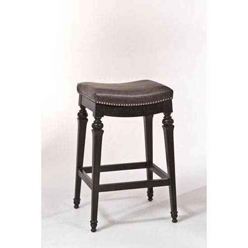 Selby Black Backless Non-Swivel Bar Stool with Vinyl