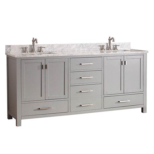 251 First Uptown Chilled Gray 72-Inch Double Vanity Combo with White Carrera Marble Top