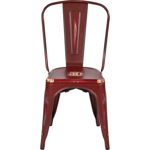 Merveilleux 251 First River Station Antique Red Armless Chair, Set Of 2