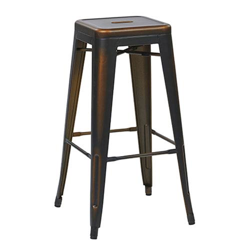 River Station Antique Copper 30-Inch High Metal Barstool, Set of 4