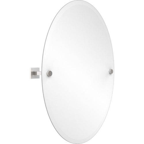 251 First Uptown Contemporary Frameless Oval Tilt Mirror With Beveled Edge