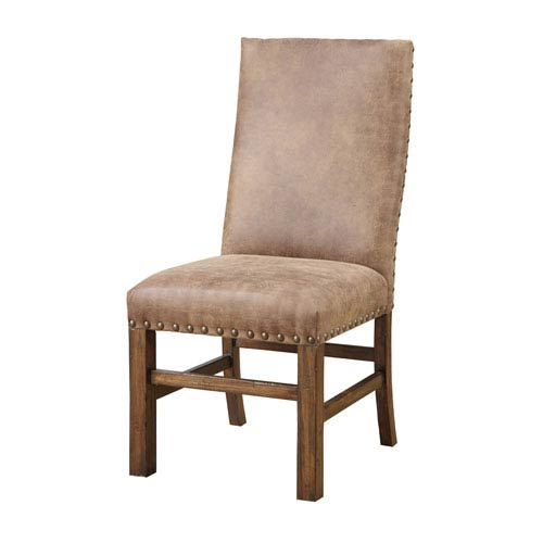 251 First River Station Brown Side Chair with Nailhead, Set of 2