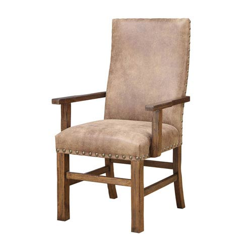 Afton Brown Arm Chair with Nailhead, Set of 2