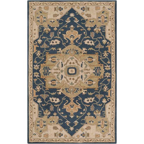 251 First Whittier Navy and Beige Rectangular: 2 Ft x 3 Ft Rug
