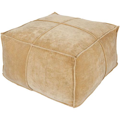 Loring Cotton Velvet Khaki Cube Pouf