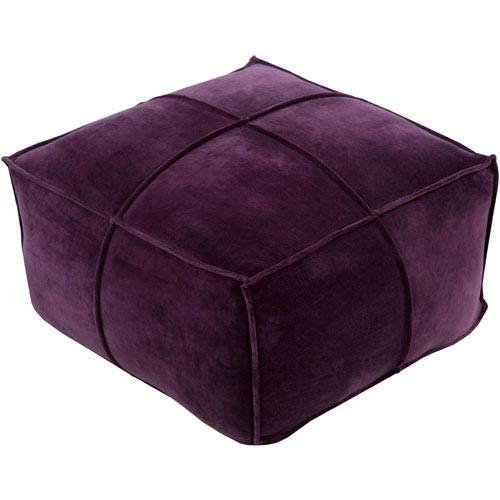 Loring Cotton Velvet Dark Purple Cube Pouf
