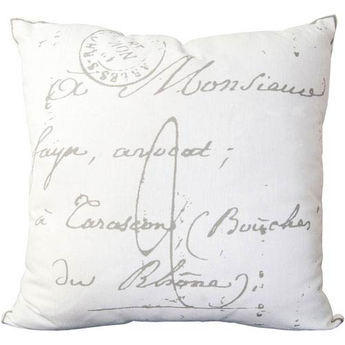 Selby Square Gray and Cream Scripted Pattern Cotton Pillow with Poly Insert