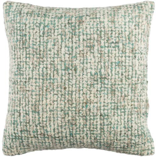 Fulton Neutral and Mint 20-Inch Pillow with Poly Fill