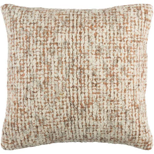 251 First Fulton Neutral and Peach 20-Inch Pillow with Poly Fill
