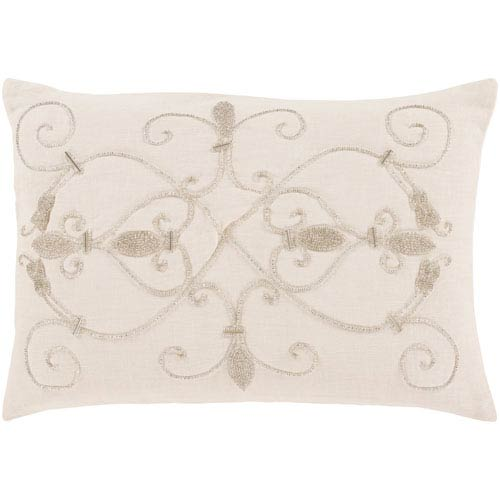 251 First Linden Ivory 13 x 19-Inch Pillow with Poly Fill