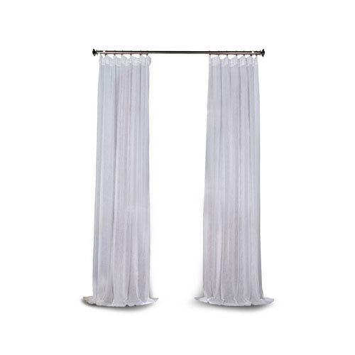 251 First Grace White Solid Faux Linen 120 x 50-Inch Sheer Curtain