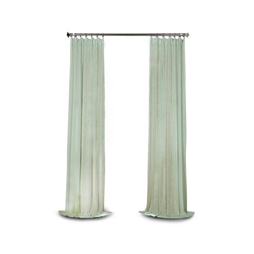 251 First Grace Blue Solid Faux Linen 84 x 50-Inch Sheer Curtain