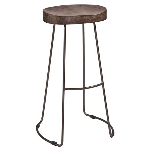 River Station Distressed Black Tractor Non-Swivel Bar Stool