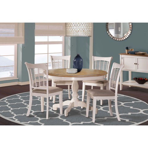 251 First Grace White 5 Piece Round Dining Set