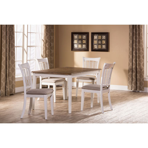 251 First Grace White 5-Piece Rectangle Dining Set
