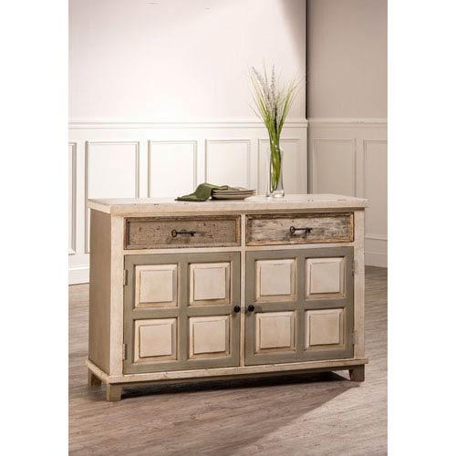 251 First Quinn White Console Table with Two Door Storage