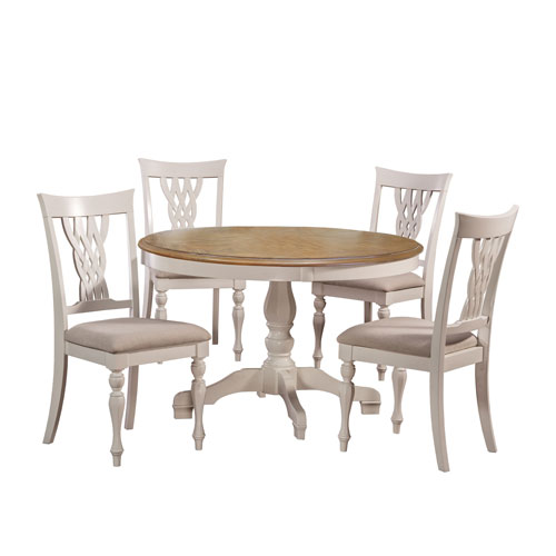 251 First Grace White 5-Piece Round Dining Set