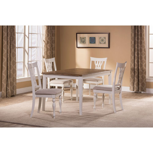 Grace White 5-Piece Rectangle Dining Set