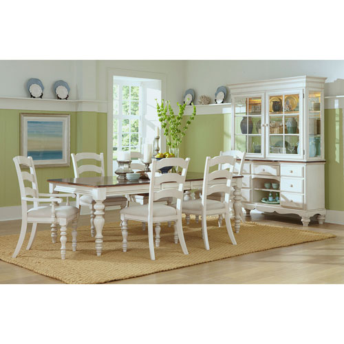 251 First Grace Old White Seven Piece Dining Set