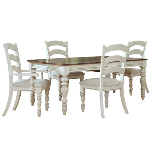 251 First Grace Old White Five Piece Dining Set