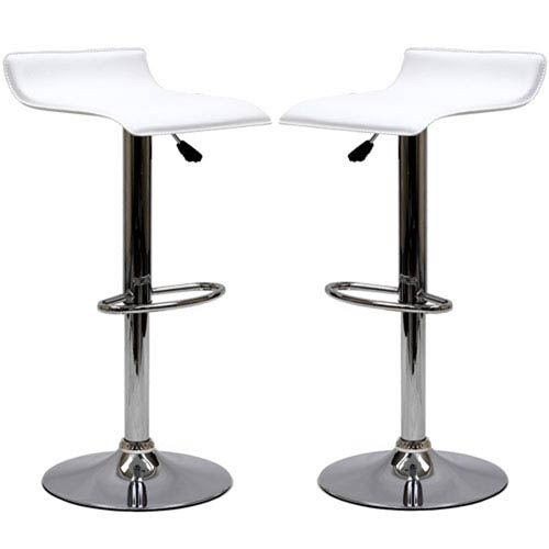 251 First Uptown Bar Stools in White, Set of Two