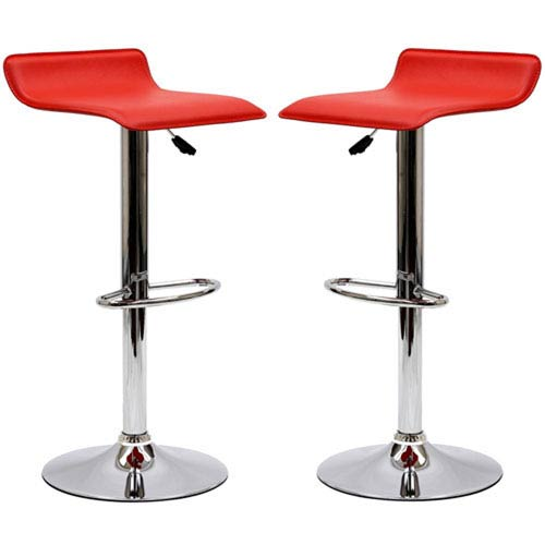 Uptown Bar Stools in Red, Set of Two
