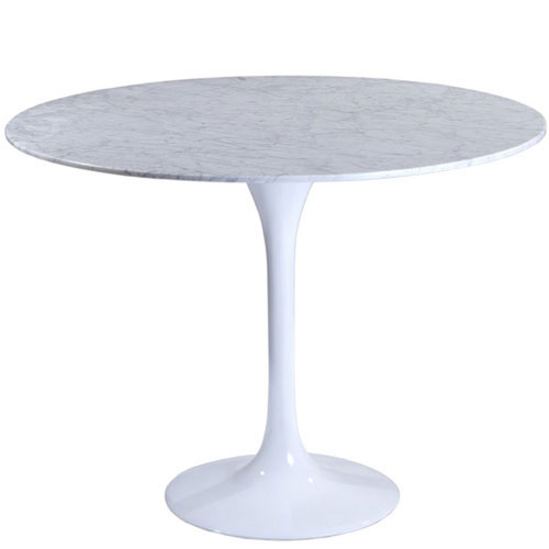 Nicollet 40-Inch Marble Dining Table in White