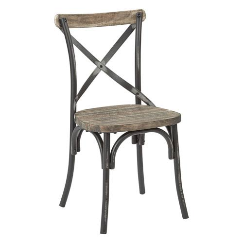 Afton Black X-Back Metal Chair