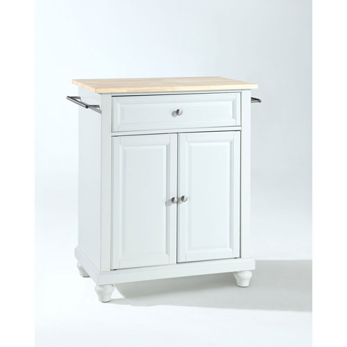 251 First Selby Natural Wood Top Portable Kitchen Island in White Finish